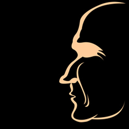 Silhouette of a head isolated, profile people in the shadows Vector
