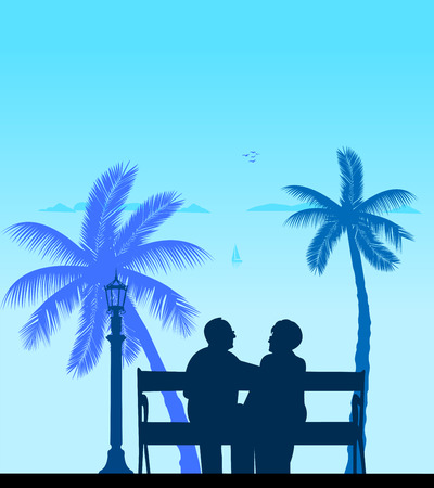 Lovely retired elderly couple on the beach under palm tree, one in the series of similar images silhouette layered Vector
