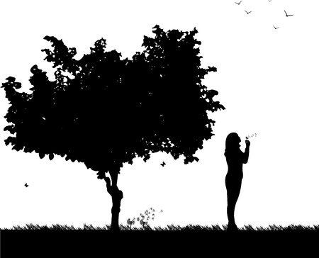 fluff: Girl blowing the dandelion in park under the tree silhouette