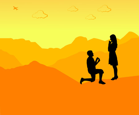 Romantic proposal on top of the mountain silhouette Vector