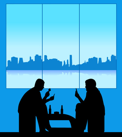 Men playing cards and drinking beer for fun silhouette  Layered vector illustration Vector