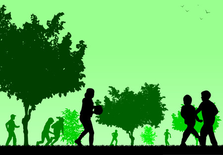 Children play in the park silhouette  Layered vector illustration Vector