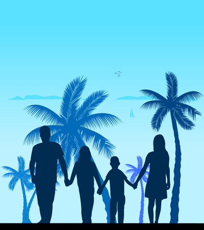 Family walking on beach between the palms silhouette layered Vector