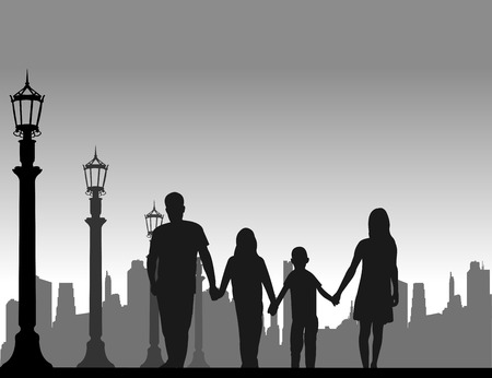 Family walking on the street silhouette  Layered vector illustration Vector