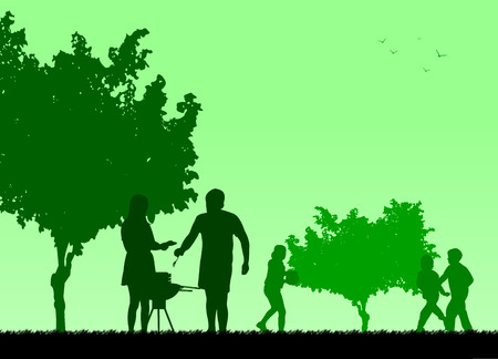 picnic park: Family barbecue and picnic in the garden silhouette, one in the series of similar images   Layered vector illustration Illustration