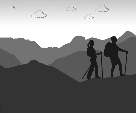 Mountain climbing, hiking couple with rucksacks silhouette, one in the series of similar images Vector