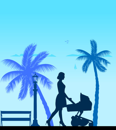 A young mother pushing the stroller and walk the beach silhouette  Layered vector illustration Vector