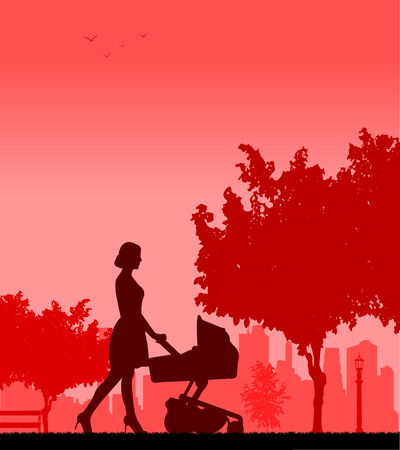 Young mother pushing the stroller and walk through the park in spring silhouette  Layered vector illustration Vector