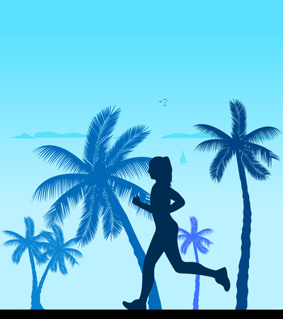 jogging in nature: Girl running on the beach silhouette layered, one in the series of similar images