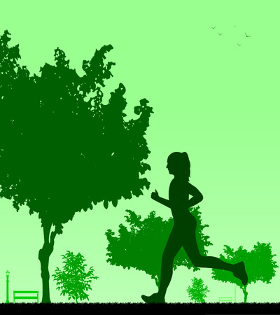 similar images: Girl running in park in spring silhouette layered, one in the series of similar images