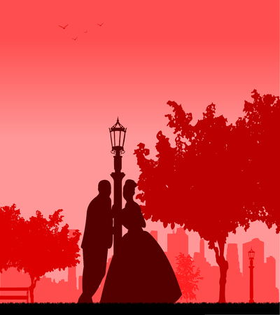 Wedding couple in park posturing silhouette  Layered vector illustration