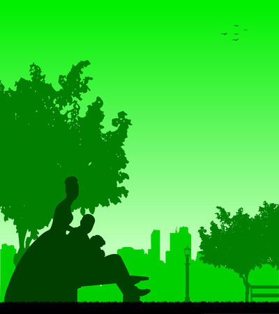 Wedding couple posturing in park silhouette Vector