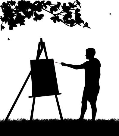 Artista pittore uomo nel parco pittura silhouette, uno nella serie di immagini simili
