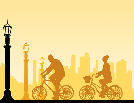 vector images: Couple bike ride on the street silhouette, one in the series of similar images  Layered vector illustration Illustration