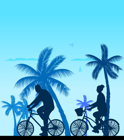 bicycling: Couple bike ride on the beach silhouette, one in the series of similar images  Layered vector illustration