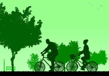 bicycling: Couple bike ride in park in spring silhouette, one in the series of similar images  Layered vector illustration Illustration