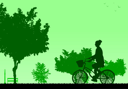 Girl bike ride in park in spring silhouette, one in the series of similar images  Layered vector illustration Vector