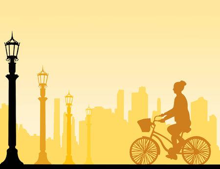 cicla: Paseo en bicicleta de la muchacha en la silueta de la calle, uno en la serie de imágenes similares ilustración vectorial capas