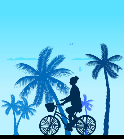 bicycling: Girl bike ride on the beach silhouette, one in the series of similar images  Layered vector illustration