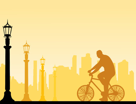 bicycling: Man bike ride on the street silhouette, one in the series of similar images  Layered vector illustration