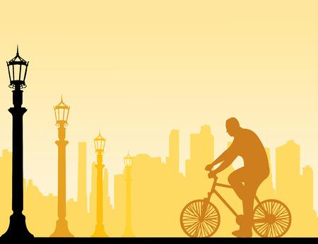 cicla: Paseo en bicicleta El hombre en la silueta de la calle, uno en la serie de imágenes similares ilustración vectorial capas