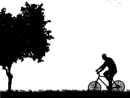 bicycling: Man bike ride in park in spring silhouette, one in the series of similar images  Layered vector illustration