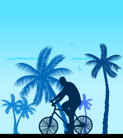 Man bike ride on the beach silhouette, one in the series of similar images  Layered vector illustration Vector