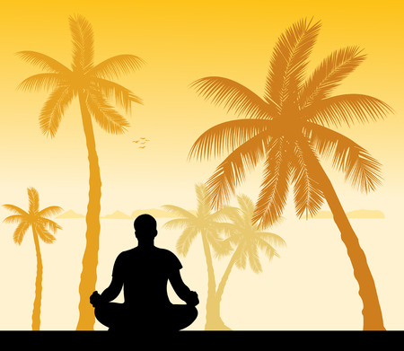 Isolated man meditating and doing yoga exercise under the palm trees on the beach silhouette  Layered vector illustration