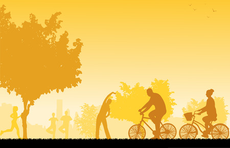 young woman running:  People in park in different sports activities scene silhouette  Layered vector illustration