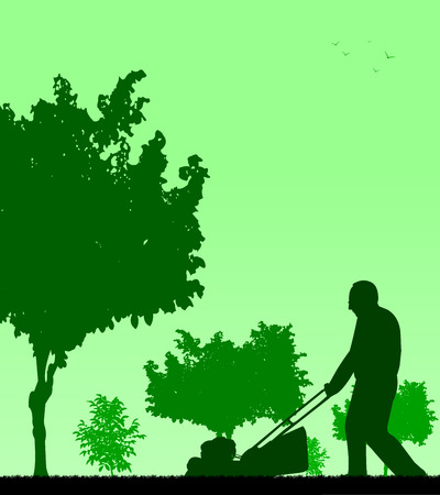 Spring activities in garden, man cut the lawn silhouette  Layered vector illustration