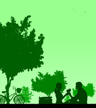 picnic park: Romantic couple in picnic, with bike in park under the tree toast with glass of wine in spring silhouette, one in the series of similar images