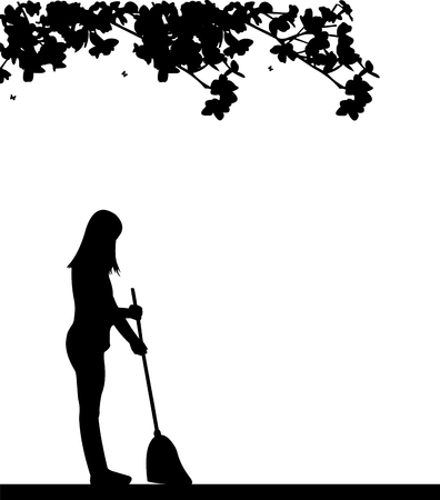 garden maintenance: silhouette of woman with a broom under a tree