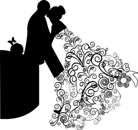 Wedding couple and beautiful floral dress with swirls in retro or vintage style Vector