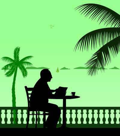 palm reading:  Lovely retired elderly man drinking cup of coffee and reading the newspaper on the beach under the palm tree Illustration