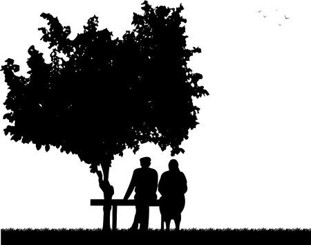 Zeer oude paar zitten op een bankje in het park, een in de reeks van soortgelijke foto's silhouet
