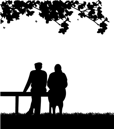 senior citizen: Very old couple sitting on bench in park, one in the series of similar images silhouette