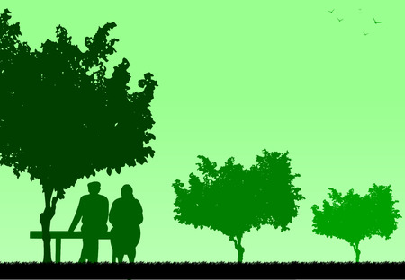 Very old couple sitting on bench in park, one in the series of similar images silhouette Vector