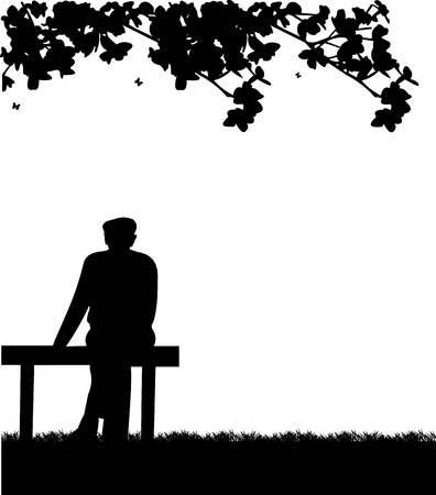 happy old age: Very old grandpa sitting on bench in park, one in the series of similar images silhouette