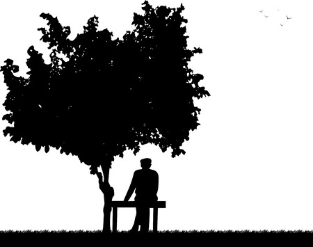 Very old grandpa sitting on bench in park, one in the series of similar images silhouette Vector