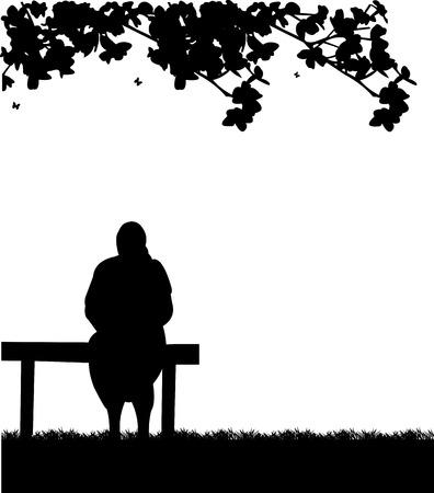 abuela: Abuela muy vieja sentada en el banco en el parque, uno en la serie de imágenes similares silueta