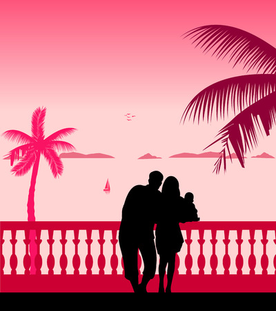 paternity: Family on vacation at sea under the palm trees silhouette
