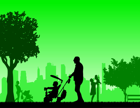 Grandfather walking with his grandson on a tricycle in the park, mother walking with baby, one in the series of similar images silhouette Illustration