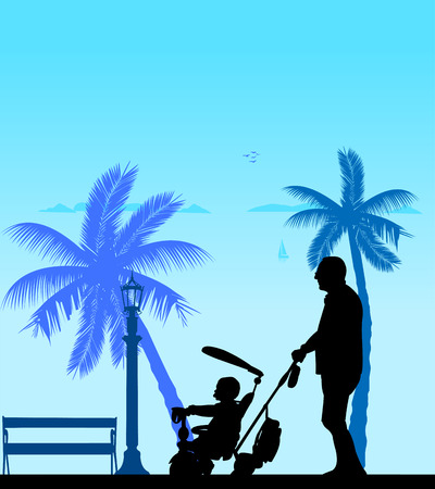 grandad: Grandfather walking with his grandson on a tricycle on the beach, one in the series of similar images silhouette
