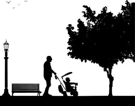 grandad: Grandfather walking with his grandson on a tricycle in the park, one in the series of similar images silhouette