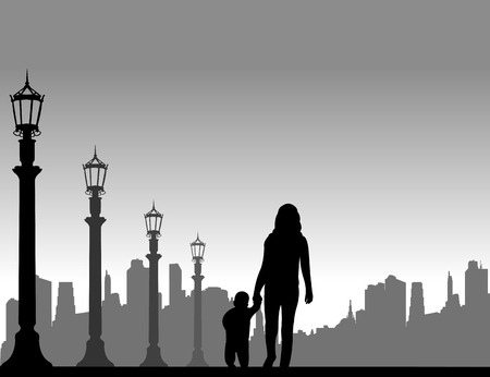one child: Mother walking with her child in the street, one in the series of similar images silhouette