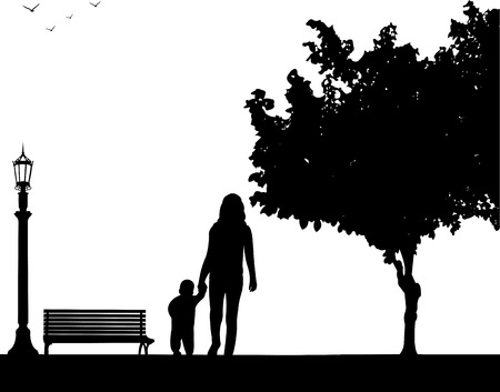 one child: Mother walking with her child in park, one in the series of similar images silhouette Illustration