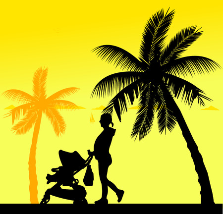 Pregnant woman walking with baby in stroller on the beach, one in the series of similar images silhouette Illustration