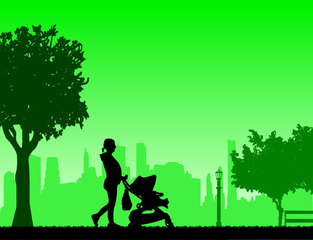 awaiting: Pregnant woman walking with baby in stroller in park, one in the series of similar images silhouette Illustration