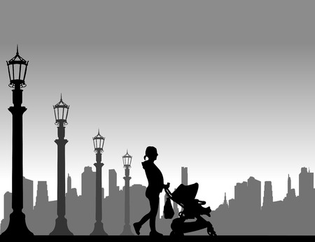 expectant: Pregnant woman walking with baby in stroller in the street, one in the series of similar images silhouette