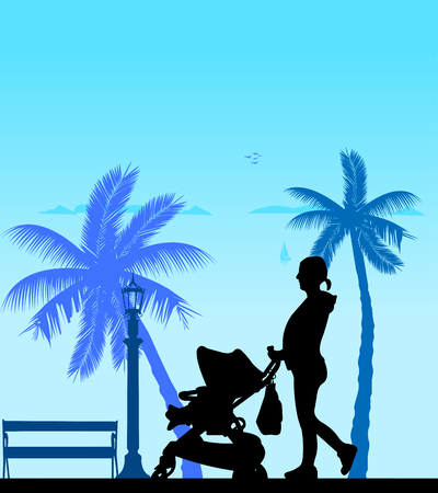 Pregnant woman walking with baby in stroller on the beach, one in the series of similar images silhouette: